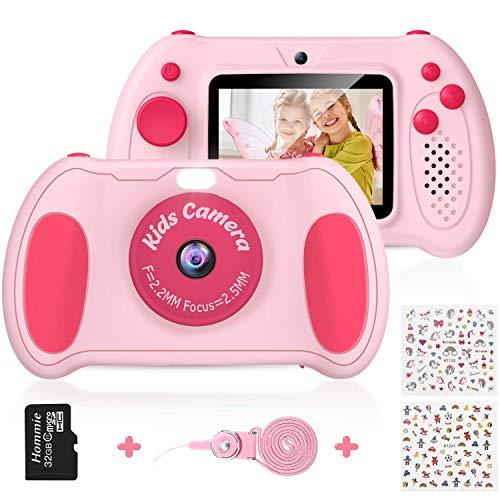 Cámara Digital para Niños, Hommie 32GB Camara Fotos Infantil de Doble Lente 1200MP/ 1080P con Speedlite, 3 Juegos y Reproductor MP3, Cámara para Niños de 2.4' Pantalla, Regalos para 3 a 12 Años,Rosa