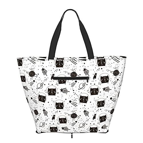 Women Handbags Large Tote bag Cute Cat Astronauts Big Capacity Handbags Trendy Gym Sports Beach Shoulder Tote Bag