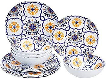 12-Pieces Amazon Basics Melamine Dinnerware Set