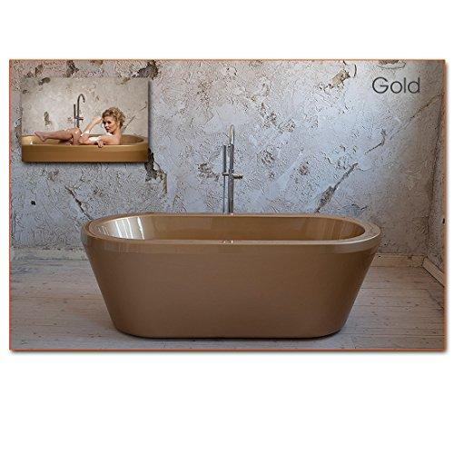 Freistehende Design Badewanne Mirano von Aqua Alegra© 190 x 85 x 65 cm, XXL groß (Gold)