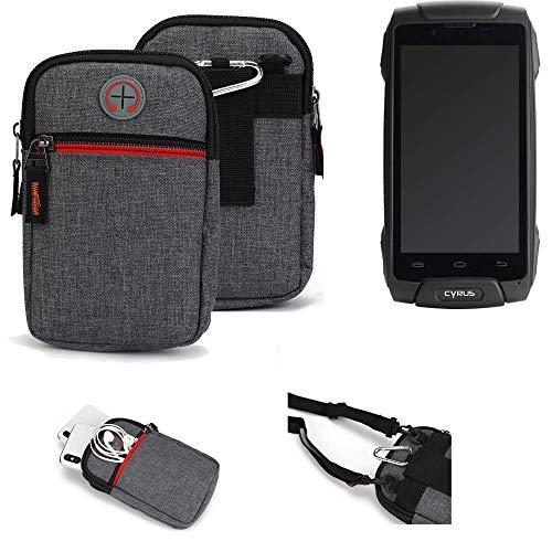 K-S-Trade® Gürtel-Tasche Für Cyrus CS 30 Handy-Tasche Schutz-hülle Grau Zusatzfächer 1x
