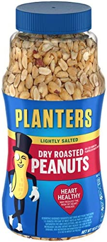 PLANTERS Lightly Salted Dry Roasted Peanuts 16 oz Resealable Jars Pack of 6 Peanut Snack Great product image
