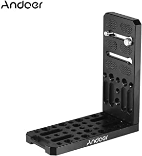 Andoer Camera L Bracket Plate Holder 1/4 with 3/8 Inch Screw Mount Aluminium Alloy Bracket for Vertical Video Recording for Canon Sony Nikon Cameras DSLR Tripod Accessory Universal