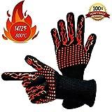 Paire de gants de cuisson résistants à la chaleur jusqu'à 500 °C 33cm rouge