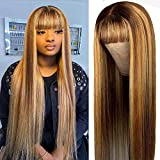 Brennas Hair For Black Women Short Bob Human Hair Wigs Non Lace Front Highlights Wigs with Bangs 4/27 Ombre Brown Color Brazilian Straight Virgin Hair Full Machine Made 150% Density 14 Inch
