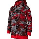 Nike Sportswear Boys Club Fleece Camo Hoodie (Red/Grey, l)