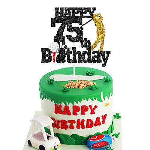 Golf-Themed 75th Birthday Cake Topper
