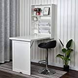 YU YUSING Wall Mounted Table, Fold Out Convertible Desk Multi-Function Computer Desk Writing Desk Home Office Wood Wall Floating Desk with Large Storage Area