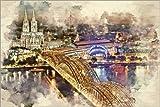 Poster 91 x 61 cm: Köln Skyline mit dem Kölner Dom von