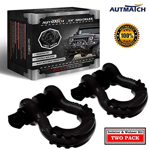 AUTMATCH Shackles 3/4' D Ring Shackle (2 Pack) 41,887Ib Break Strength with 7/8' Screw Pin and Shackle Isolator & Washers Kit for Tow Strap Winch Off Road Vehicle Recovery Matte Black