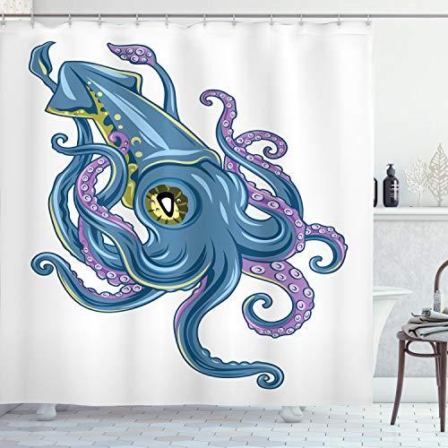 Ambesonne Kraken Duschvorhang, mythischer Tintenfisch, schwimmende Tentakel, Seesternflosse, grafischer Stil, Stoff, Badezimmer-Dekor-Set mit Haken, 213,4 cm, extra lang, Violett / Blau
