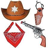 Haichen Accesorios de Disfraces de Vaquero Sombrero de Vaquero Bandana Pistolas de Juguete con Fundas de cinturón Juego de Vaquero para la Fiesta de Halloween (marrón)
