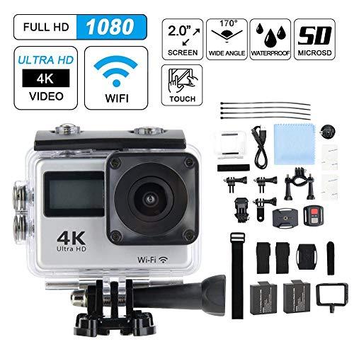 Action Cam 4K 30fps WiFi 30M onderwatercamera Ultra HD waterdichte sportcamera met 170 ° groothoek, dual display, fiets videocamcorder met accessoireskits