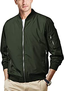 Mens Casual Athletic-Fit Bomber Jackets Zipper Pockets Full-Zip Lightweight Varsity Baseball Coats