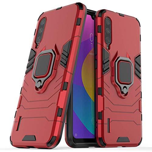"""Max Power Digital Funda para móvil Xiaomi Mi A3 (6.1"""") con Soporte Anillo Metálico - Carcasa Híbrida Antigolpes Resistente (Xiaomi Mi A3, Rojo)"""