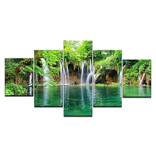 Photographic Print Pictures Falls Castle Peak View Living Room Modern-5 pieces with Framed-(20x35 20x45 20x55cm)