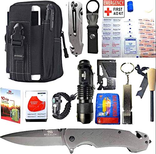 STEALTH SQUADS 42 in 1 Survival Military Pouch KIT, Premium Tactical Pocket Knife, First AID KIT, EDC Multi-Tool USE for Camping, Hiking, Biking, Outdoor Safety Gears w/Bonus E-Book (Black)