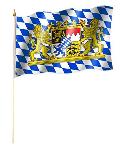Stockflagge/Stockfahne Bayern mit Löwen Flagge/Fahne ca. 30 x 45 cm mit ca. 60cm Stab/Stock