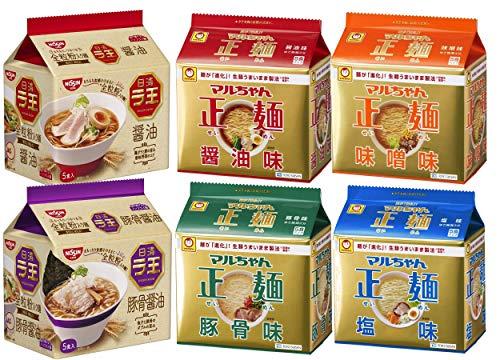 マルちゃん正麺(醤油/味噌/豚骨/塩) 4種類×5食パック各1セット(計20食)+ラ王(醤油/豚骨しょうゆ) 5食パック×各1セット 計30食 食べ比べセット