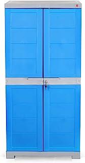 BINANI Cello Novelty Plastic Cupboard, Free Standing Cabinet, Storage Wardrobe (Grey & Blue, Big)