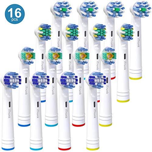 Aufsteckbürsten für Oral B, iTrunk Ersatzköpfe Kompatibel mit Oral B Elektrische Zahnbürste Pro 700 Pro 5000 Pro 6500,inklusive 4 Cross, 4 Precision Clean, 4 Floss Action& 4 3-D Whitening,16 Stück
