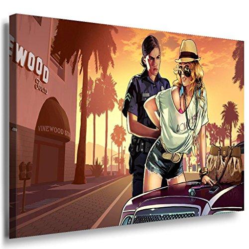 GTA V Cops Leinwandbild / LaraArt Bilder / Leinwand Bild + Mehrfarbig + Kunstdruck g20-1 Wandbild 40 x 30 cm