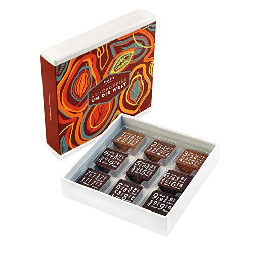 Leckeres Schokoladen Geschenkset mit 9 verschiedlichen Edel Kakaos | Verschenken Sie unsere Gourmet Weltreise. Ein Hochgenuss für Frauen Männer Kunden und Partner | Probierset zum Geburtstag, Jubiläum