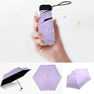 Pocket Umbrella Rain Women 5 Folding Sun Umbrellas Anti-UV, Mini Portable Rain Umbrella, Compact Travel Umbrella
