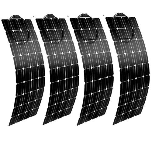 AUECOOR Solarpanel, 100 W, semi-flexibel, 400 W, Solarsystem, Photovoltaik-Solarpanel, 12 V, Batterie/Yacht/Wohnmobil/Auto/Boot, 4 Stück