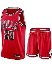 # 23 zomer jerseys, heren retro basketbal shorts, basketbal uniform top & kort pak,Rood,XL