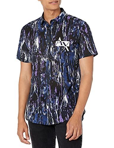 Armani Exchange Printed Cotton Poplin Navy/Purple OPULANCE Shirt Camisa, Azul Marino/Morado, M para Hombre