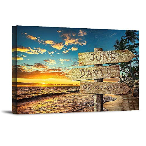 Sunset Beach Sign Unique Personalized Photo or Canvas Prints with Couple's Names and Special Date on Sign,Perfect Present for Anniversary,Wedding,Birthday,Holidays