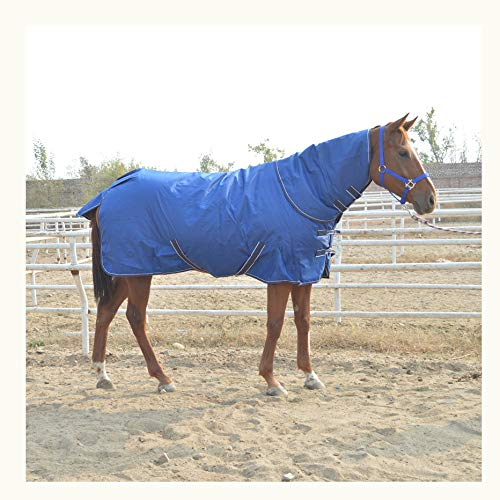 XLYAN Manta Caballos Tela Oxford 600d Protección contra El Frío Mantener Caliente,Cofre Delantero Ajustable,Cuello Desmontable,Blue-135cm