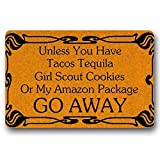 SOTUVO Felpudo Entrada A Menos Que Tenga Tacos Tequila, Girl Scout Cookies Go Away Tapete para Puerta Interior/Exterior Felpudo Divertido Felpudo Lavable a máquina-24x32 Inch