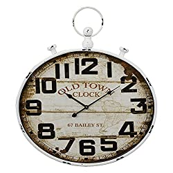Benzara Retro Style SPCC and Plastic Oval Horizontal Wall Clock, White
