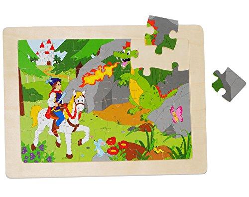 alles-meine.de GmbH Rahmenpuzzle aus Holz - 24 Teile - Ritter mit Pferd u. Drache / Dornröschen - große Holzpuzzle - Motorikspiel - Motorik - Steckpuzzle Puzzle - für Kinder / Mä..