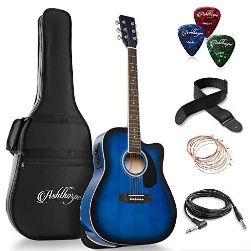 Ashthorpe Full-Size Dreadnought Cutaway Acoustic-Electric Guitar Bundle - Premium Tonewoods - Blue