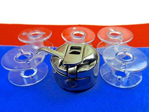 Spulenkapsel + 5 Kunststoff Spulen für W6 W 6 Nähmaschine
