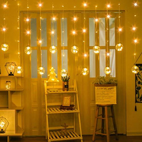 SUPERNIGHT LED Curtain Lights with Crystal Ball, Globe Window Twinkle Fairy String Light Waterproof for Patio,Lawn,Garden,Wedding,DIY
