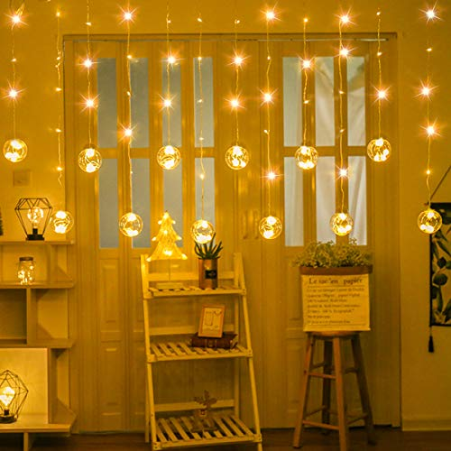 SUPERNIGHT LED Curtain Lights with Crystal Ball, Globe Window Twinkle Fairy String Light Waterproof for Patio,Lawn,Garden,Wedding,DIYChristmas Tree Decoration (9.8 x 9.8 ft,8 Modes,Warm White)