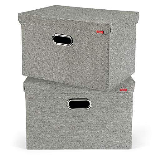 PAVLIT Aufbewahrungsbox 2 stück mit Deckel Aufbewahrungskiste für Kleidung, Spielzeug, Schlafzimmer und Regale 45x30x30 cm
