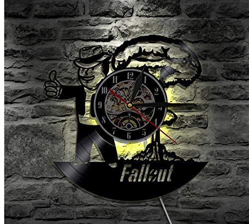 SKYTY Fallout Led Vinyl Uhr Wandbeleuchtung Farbwechsel Coole Wohnzimmer Innendekor Handgefertigte Kunst Lampe Fernbedienung Mit Led 12 Zoll