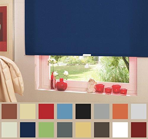 Springrollo Mittelzugrollo Schnapprollo Fenster Rollo Vorhang 16 Farben Breite 62-242 cm Höhe 160 und 230 cm blickdicht lichtdurchlässig Sonnenschutz Sichtschutz Blendschutz (132 x 160 cm Dunkelblau)