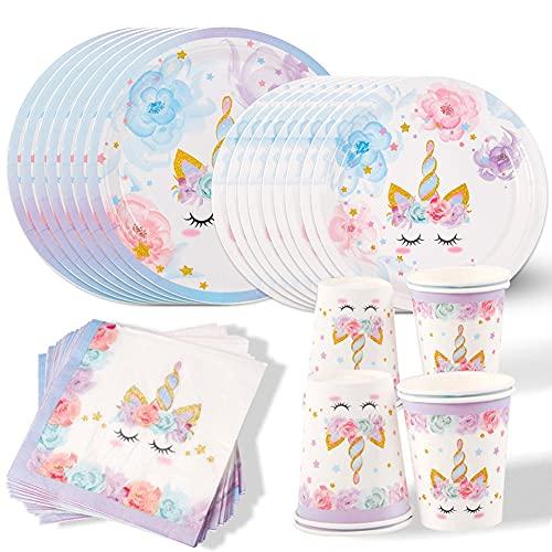 Amycute Unicorno Party Kit Compleanno, Unicorno Piatti Bicchieri Tovaglioli per Bambini Ragazze Festa di Compleanno Baby Shower
