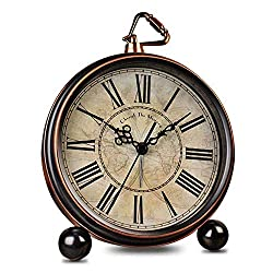 HeQiao Vintage Silent Non-Ticking Table Alarm Clocks (Bronze)