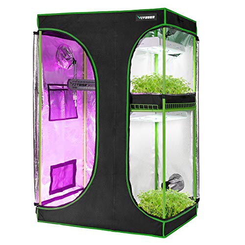 "VIVOSUN 2-in-1 36""x24""x53"" Mylar Reflective Grow Tent for Indoor Hydroponic Growing System"