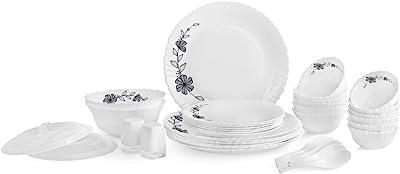 Cello Florid Vine Opalware Dinner Set, 37-Pieces, White