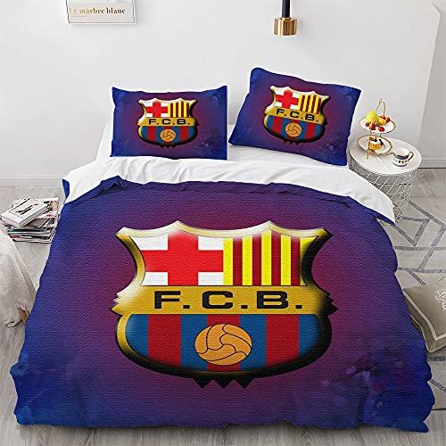 WSFST Fútbol Fundas Edredón Cama 135/150, FC Barcelona Funda Nórdica 230x220 Cm De Microfibra Hipoalergénica, Juego De Fundas Nórdicas con 2 Funda De Almohada 50x80cm