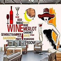 写真の壁紙現代の手描きの美しさ赤ワイン英語の手紙壁画KTVバー西洋レストランの背景壁の装飾フレスコ画, 150cm×105cm