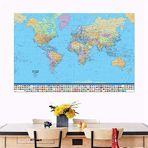ZAOWEN Mapa Político Mundo Proyección 5 Tamaño